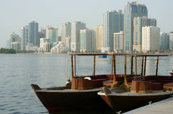 Abra boats and lagoon view, Sharjah Royalty Free Stock Photos