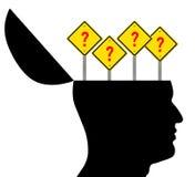 Abra a cabeça com sinais do ponto de interrogação ilustração do vetor
