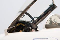 Abra a cabina do piloto do jato Su-27 Fotografia de Stock