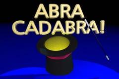 Abra Cadabra Magic Hat Wand trickhandling royaltyfri illustrationer