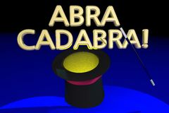 Abra Cadabra Magic Hat Wand-Trucakte Royalty-vrije Stock Afbeelding