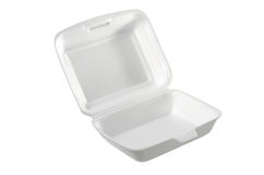 Abra a caixa branca da espuma isolada no branco: Trajeto de grampeamento incluído fotos de stock