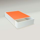 Abra a caixa de fósforos com etiqueta vazia Foto de Stock
