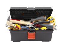 Abra a caixa de ferramentas preta com ferramentas Fotografia de Stock Royalty Free