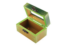 Abra a caixa de jóia pintada verde Imagens de Stock Royalty Free