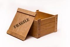 Abra a caixa de madeira imagem de stock