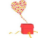 Abra a caixa de presente com as formas do coração que saem d Fotos de Stock