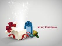Abra a caixa de presente com luzes efervescentes Fotografia de Stock Royalty Free