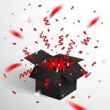 Abra a caixa de presente e confetes pretos Natal e Valentine Background Ilustração do vetor ilustração do vetor