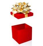 Abra a caixa de presente isolada no fundo branco Fotos de Stock