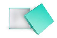 Abra a caixa de presente verde no fundo branco fotografia de stock royalty free