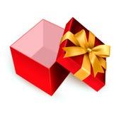 Abra a caixa de presente vermelha Foto de Stock Royalty Free