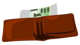 Abra a carteira e o dinheiro de couro ilustração do vetor
