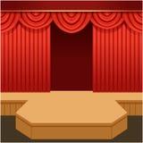 Abra a cena do teatro com cortina e o pódio vermelhos da forma ilustração stock