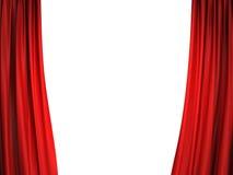 Abra cortinas vermelhas da fase Imagens de Stock