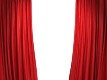 Abra cortinas vermelhas da fase Foto de Stock Royalty Free