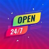 Abra 24/7 de todo el fondo moderno de los días ilustración del vector