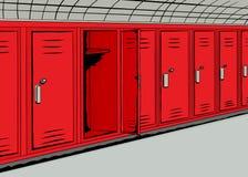 Abra el armario rojo en Hall Background Foto de archivo