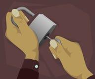 Abra el candado con clave Imágenes de archivo libres de regalías
