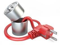 Abra el cargador de batería con el enchufe Foto de archivo