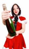 Abra el champán en la Navidad y el Año Nuevo Imágenes de archivo libres de regalías