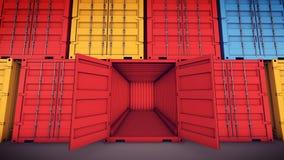 abra el contenedor para mercancías Fotos de archivo libres de regalías