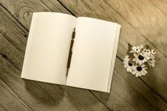 Abra el cuaderno con el embrague-tipo lápiz en el fondo de madera, filte fotos de archivo