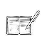 Abra el cuaderno con la pluma, imagen del bosquejo Fotos de archivo libres de regalías