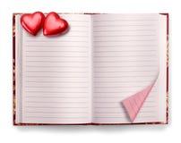 Abra el cuaderno del espacio en blanco del diario de la tarjeta del día de San Valentín imágenes de archivo libres de regalías