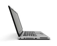 Abra el cuaderno del ordenador portátil en el fondo blanco Imagen de archivo libre de regalías