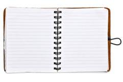 Abra el cuaderno del papel en blanco Imagen de archivo