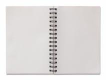Abra el cuaderno espiral aislado en blanco Imágenes de archivo libres de regalías