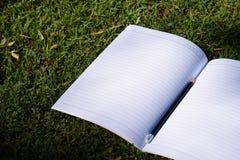 Abra el cuaderno y el lápiz en campo de hierba en parque Imagen de archivo libre de regalías