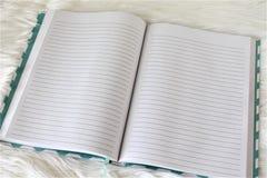 Abra el diario alineado para escribir aislada en el fondo blanco Imagen de archivo