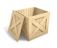 Abra el embalaje de madera stock de ilustración