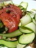 Abra el emparedado del calabacín y del tomate Imagen de archivo libre de regalías