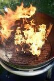 Abra el fuego en la parrilla Foto de archivo