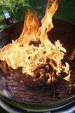 Abra el fuego en la parrilla para asar a la parrilla Imagenes de archivo