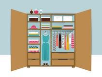 Abra el guardarropa Armario de madera con ropa, camisas, suéteres, cajas y zapatos ordenados Interior casero stock de ilustración