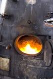 Abra el horno en locomotora Imagen de archivo