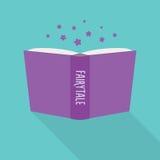 Abra el icono del libro Concepto de cuento de hadas, género literario de la ficción ilustración del vector