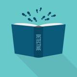 Abra el icono del libro Concepto de detective, género literario de la ficción libre illustration