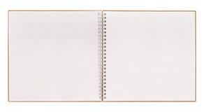 Abra el libro aislado en blanco cuaderno con la carpeta espiral Fotos de archivo