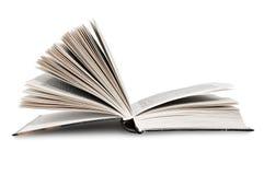 Abra el libro, aislado en el fondo blanco Imagen de archivo