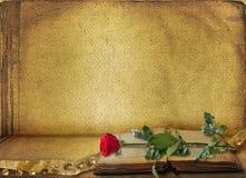 Abra el libro antiguo con hermoso se levantó Imagen de archivo libre de regalías