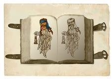 Abra el libro, bruja de la calabaza Fotografía de archivo libre de regalías