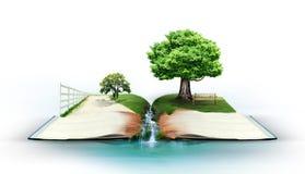 Abra el libro con la naturaleza verde Imágenes de archivo libres de regalías