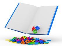 Abra el libro con las cartas coloridas en el backgroun blanco Fotografía de archivo libre de regalías