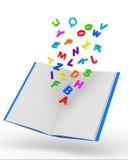 Abra el libro con las cartas coloridas en el backgroun blanco Foto de archivo libre de regalías