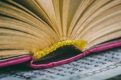 Abra el libro con las páginas - literatura y educación fotografía de archivo